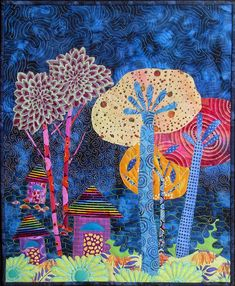 Lollipop Houses by Sue Rasmussen   art quilt