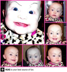 draw eyebrows on your kid and then laugh forever
