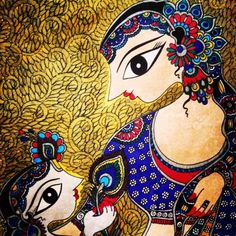 Madhubani painting, Indian folk art by Bharti Dayal Indian Paintings, Cool Paintings, Traditional Paintings, Traditional Art, Indian Illustration, Frida Art, Madhubani Art, Indian Folk Art, Madhubani Painting