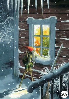 Christmas- Gnome on stilts at window