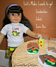 Inspired by some wonderful small containers I found at my local dollar store and the warm weather outside I thought it would be fun to make our dolls lunches to go!