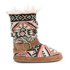 Tribal pattern scrunch slipper bootie with faux fur interior and decorative buckle wrap.
