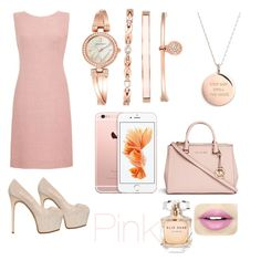 """pretty in pink"" by rabiahk on Polyvore featuring Anne Klein, Kate Spade, Michael Kors, Giuseppe Zanotti, Fiebiger and Elie Saab"