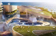 Cidade Flutuante - A ilha, de design arrojado, será auto-sustentável e eficiente em energia limpa