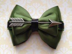 Green Arrow Inspired Bow https://www.etsy.com/listing/207036270/green-arrow-inspired-bow