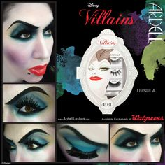 Makeup Artist Carine Bernedo used Ardell Lashes from the Disney Villains Collection to create this striking Ursula-inspired look. Halloween Ghosts, Halloween Cosplay, Halloween Costumes, Halloween Face Makeup, Disney Costumes, Halloween 2019, Halloween Ideas, Halloween Party, Disney Character Makeup