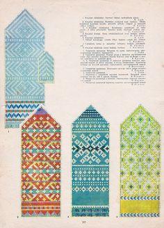"""VANAD MUSTRID: Koo järele! 1957. aasta kodumaisest """"Käsitöö Albumist"""" leiab hüpnotiseerivalt ilusaid kindamustreid - FORTE Knitted Mittens Pattern, Knit Mittens, Knitted Gloves, Knitting Charts, Knitting Stitches, Knitting Patterns, Motif Fair Isle, Norwegian Knitting, Craft Patterns"""