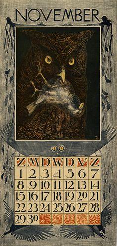 Theodoor van Hoytema - calendar 1903 november