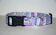 Purple Aztec Dog Collar Aztec Print Dog Collar by PawesomePups