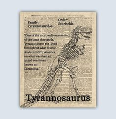 Etsy :: Your place to buy and sell all things handmade Tyrannosaurus Rex Skeleton, Dinosaur Skeleton, Dinosaur Nursery, Dinosaur Art, Dinosaur Prints, Dinosaur Posters, Old Maps, Pigment Ink, T Rex