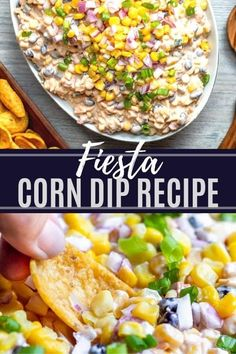 This Fiesta Corn Dip recipe is simple to make and perfect for crowds both large and small. The dip is made with canned corn, black beans, Rotel, cheddar cheese and has a mayo and sour cream base. This dip is served cold and can easily be made ahead of time for easy prep work. Serve with Frito's, tortilla chips or sliced mini peppers for the perfect finish.