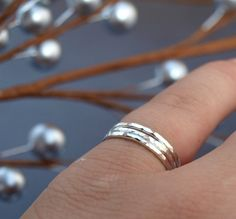 Hammered Sterling Silver Stack  3 rings in by CatherineMarissa, $24.00