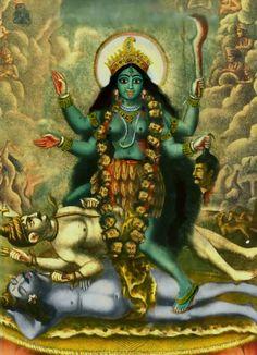 Tantric depiction of Kali united with a Sadhaka while standing on Shiva. Tantric Yoga, Tantra, Navratri Wallpaper, Kali Mata, Digital Art Fantasy, Hindu Dharma, Kali Goddess, Shiva Shakti, Kali Shiva
