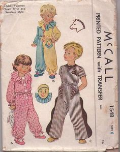 MOMSPatterns Vintage Sewing Patterns - McCall's 1548 Vintage 50's Sewing Pattern FUN Childs' Unisex Step In Jumpsuit Pajamas in Clown or Cowboy Styles with Transfer Size 6 Childrens Sewing Patterns, Mccalls Sewing Patterns, Baby Patterns, Vintage Sewing Patterns, Clothing Patterns, Clothing Styles, Vintage Costumes, Vintage Outfits, Vintage Clothing