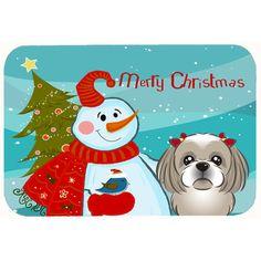 "Caroline's Treasures Snowman with Shih Tzu Kitchen/Bath Mat Color: Gray/Silver, Size: 20"" W x 30"" L"