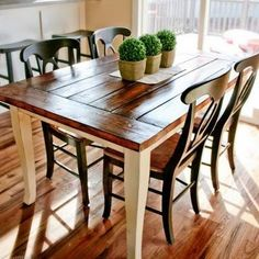 Farmhouse table...wood planks used for top with steps on staining process