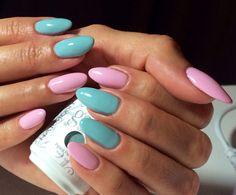 Sea foam  baby pink almond shaped gel nails Almond nails/  Spring nails #ByMargarita