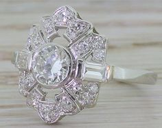 Art Deco 1.24 Old Cut Diamond Ring