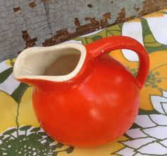 Vintage little ball pitcher orange red by MulfordCottage on Etsy
