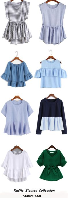 Cute Ruffle Blouses - love the style of the top two and the green one Look Fashion, Diy Fashion, Fashion Outfits, Womens Fashion, Fashion Design, Fashion Trends, Casual Wear, Casual Outfits, Cute Outfits