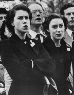 Not only is this an amusing photo of the queen as a young woman, but Princess Margaret seems to be doing a Keira Knightley imitation.