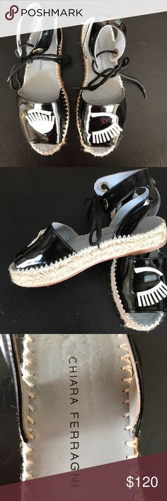 Chiara Ferragni Espadrilles - Size 38 Blinking Chiara Ferragni espadrille's in a size 8. Patent upper and leather sole, very minimal wear. Comes with box. Fits like a US 8. chiara Ferragni Shoes Sandals