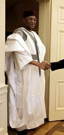 The grand boubou/bubu is one of the names for a flowing wide sleeved robe worn by men in much of West Africa, and to a lesser extent in North Africa, related to the Dashiki suit[citation needed]. It is known by various names, depending on the ethnic group wearing them: agbada (Yoruba, Dagomba), babban riga (Hausa), k'sa (Tuareg) grand boubou (in various Francophone West African countries) and the English term of gown.