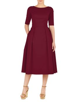 Our stretch cotton poplin dress is cinched in with an elasticated self-belt and a wide bow at the back. The princess-seamed bodice and pleated skirt are classically flattering, while pockets and a midi-length hemline offer modern elements. Modest Dresses, Plus Size Dresses, Cute Dresses, Casual Dresses, Dresses For Work, Poplin Dress, Belted Dress, The Dress, Dress Skirt