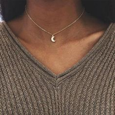 Cute Small Moon Pendant Necklace for Women Gold Color Chain Choker Necklace Bohemian Collar Jewelry Christmas Gift bijoux femme(China) Wedding Jewelry And Accessories, Luxury Jewelry, Silver Chain Necklace, Heart Pendant Necklace, Crystal Necklace, Chain Necklaces, Silver Ring, Silver Jewelry, Choker Jewelry