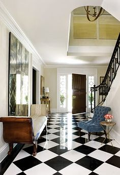 Black and white flooring never goes out of style ( my Nana & Poppy had black and white floors <3)