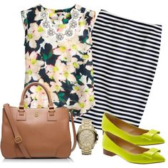6.19.14 Cove Floral & Stripe by shopmurphy on Polyvore featuring J.Crew, Banana Republic, Tory Burch and Michael Kors