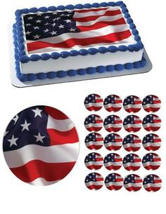One American Flag Edible Image 174 Cake Decoration Printed On