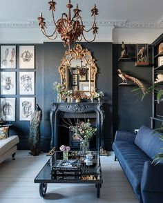 Our March cover home - monochrome with period details and a splash of romance. Shot by James Merrell #livingroom #monochrome #taxidermy #chandelier #victorian #interiordesign