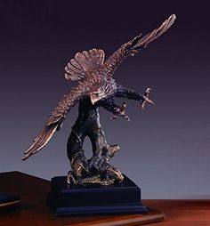 Sculpture: Marian Imports F51121 Eagle Bronze Plated Resin Sculpture - 11.5 X 7 X 14 In.