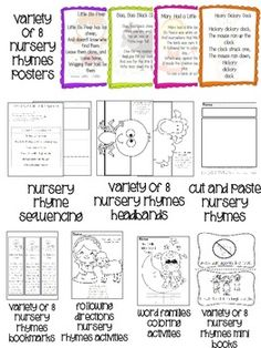 8 Nursery Rhyme Color Posters with these activities for each one: -emergent readers for students to color and put in book boxes- -following directions activities- -word family activities- -headband crafts for each nursery rhyme- -bookmarks for each nursery rhyme- -sequencing activities- Adorable graphics...great for Kinder or 1st in the fall!