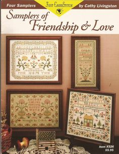 Just Cross Stitch Leaflet 326 Four Samplers of Friendship & Love CathyLivingston