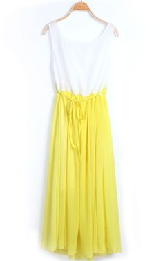 Yellow White Sleeveless Sashes Pleated Chiffon Dress - Sheinside.com