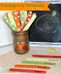 Thanksgiving Pictionary Game for Kids - Somewhat Simple