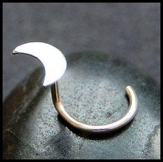Sterling Crescent Moon Nose Stud - L or Screw End