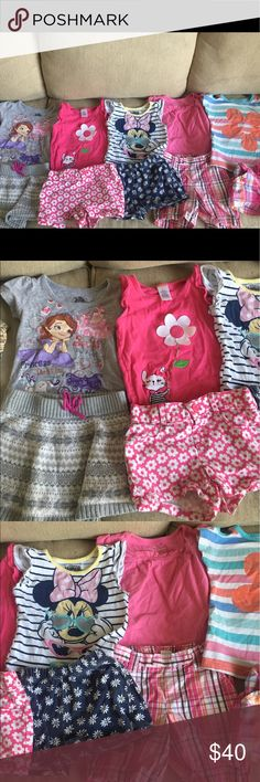 Baby Girl Lot Size 2T Clothes Outfits Baby girl 2T clothes lot of 10. There are 5 shirts, 4 pairs of shorts, and one skirt. Brands include Gymboree, Disney, OshKosh, jumping beans, carter's, and Kid Topia. Gymboree Other