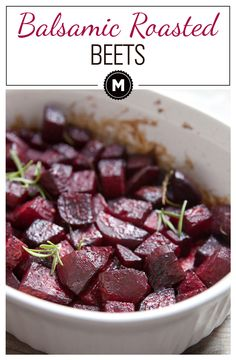 Balsamic Roasted Beets with rosemary and glazed with honey and balsamic vinegar. The perfect slightly sweet and savory side dish for any meal!