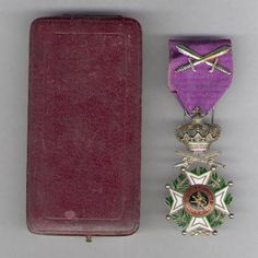 Order of Leopold (military), Knight's breast badge; Korean War issue; with box.