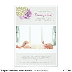 Purple and Green Flowers Photo Birth Announcements
