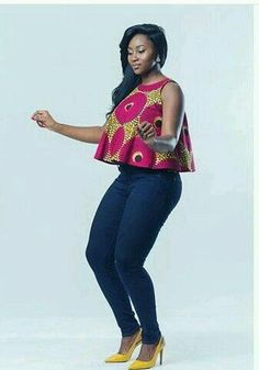 Latest Stylish Ankara Peplum Tops 2018 The Latest Ankara Tops With Jeans Style African Inspired Fashion, Latest African Fashion Dresses, African Dresses For Women, African Print Dresses, African Print Fashion, Africa Fashion, African Attire, African Wear, African Women