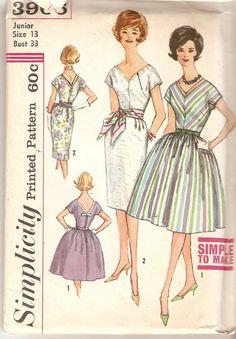 1960s Dress Pattern Full or Slim Skirt Bias cut by CherryCorners, $12.00