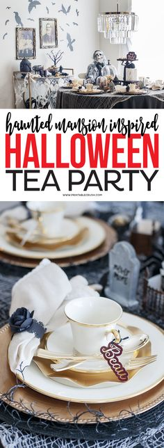 If you're a Disney fan, you'll love these Haunted Mansion Halloween Party Ideas! You'll find everything you need to throw an amazing Halloween party. Haunted Mansion Halloween, Halloween House, Disney Halloween, Scary Halloween, Fall Halloween, Halloween Party, Halloween Stuff, Halloween Costumes, Halloween Projects