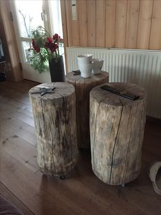 Reclaimed Wood - small tables with wheels.