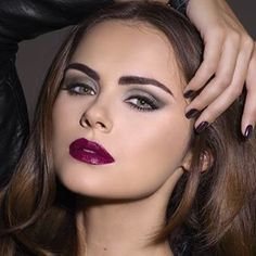 Dark Winter. Makeup colours that make great sense together. Lips, eyes, foundation, hair, brows, nails, all have a reason for being on the same face, feel very connected to one another, elevate one another, and support the wholeness of the face.