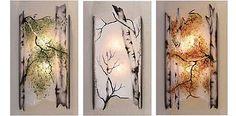 Sconces & wall mount glass lighting fixtures, tree branch metal work