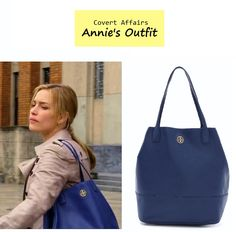 "On the blog: Annie Walker's (Piper Perabo) blue leather tote | Covert Affairs - ""Vamos"" (Ep. 401) #tvfashion #accessories #fashion #outfits"